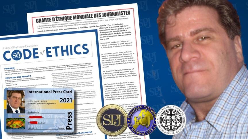 """Guy Boulianne est désormais un membre en règle de la """"Society of Professional Journalists"""" et endosse de ce fait son codedéontologique"""